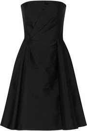 Alberta Ferretti Strapless duchesse-satin and wool-blend dress