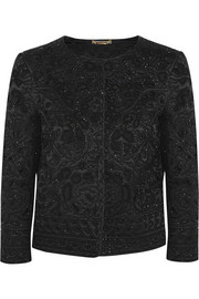Alberta Ferretti Beaded silk-covered macramé wool jacket