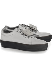 Acne Studios Adriana plaque-detailed metallic leather sneakers