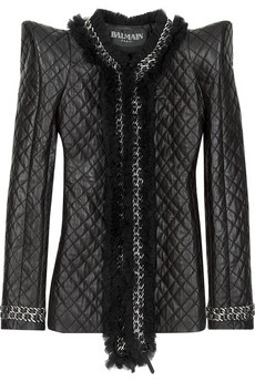 BalmainPeak-shouldered leather jacket