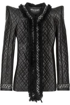 Balmain Peak-shouldered leather jacket