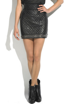 Balmain Quilted leather skirt