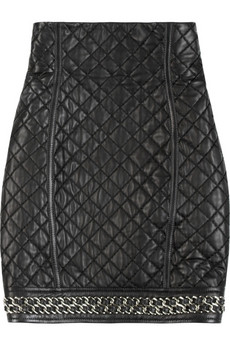 BalmainQuilted leather skirt