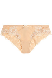 Dolce & Gabbana Lace-trimmed silk-blend georgette briefs