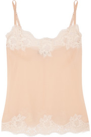 Lace-trimmed silk-crepe camisole