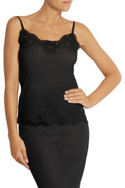 Dolce & Gabbana Lace-trimmed silk-crepe camisole