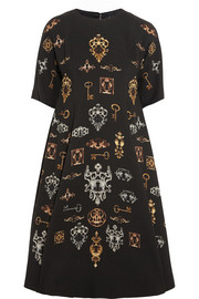 Dolce & Gabbana Printed stretch-wool crepe dress