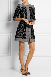 Dolce & Gabbana Flocked metallic matelassé mini dress