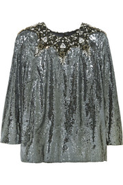 Embellished sequined crepe top