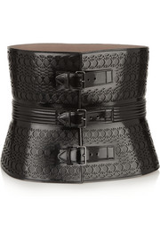 Alaïa Laser-cut glossed-leather waist belt