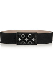 Studded suede waist belt