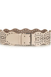 Alaïa Scalloped laser-cut leather waist belt