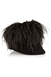 Lanvin Feather-embellished rabbit-felt riding cap