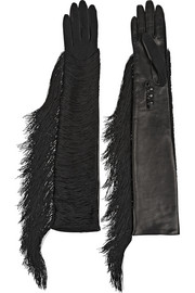 Fran fringed jersey and leather gloves