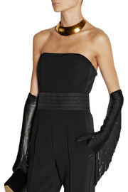 Lanvin Fran fringed jersey and leather gloves