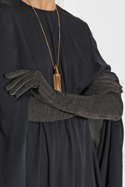 Lanvin Paneled suede and jersey gloves