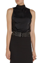 Lanvin Crystal-embellished leather waist belt