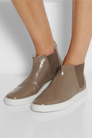 Lanvin Patent-leather high-top slip-on sneakers