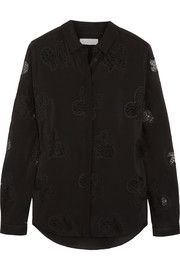 Mulberry Silk-crepe and embroidered lace shirt
