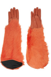 Leather and shearling gloves