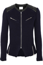 Ceylona leather-trimmed knitted jacket