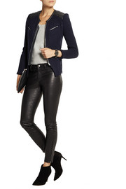 IRO Ceylona leather-trimmed knitted jacket