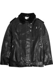 Jameson shearling-trimmed leather biker jacket