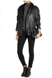 IRO Jameson shearling-trimmed leather biker jacket