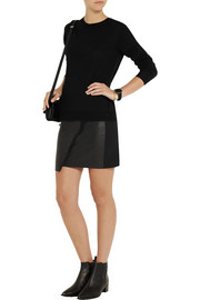 IRO Jalie leather and stretch-cotton jersey mini skirt