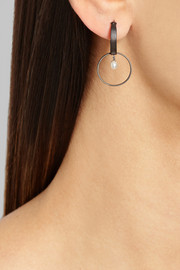 Inez and Vinoodh Oxidized silver pearl earrings