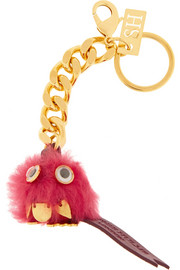 Sophie Hulme Maple gold-tone and shearling keychain