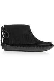 Tory Burch Collins shearling-lined fringed suede boots