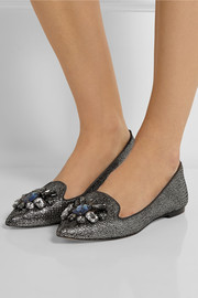 Tory Burch Mayada embellished metallic suede point-toe flats