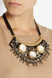 Marni Gold-plated, horn and crystal necklace