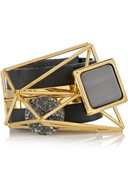 Marni Embellished leather and gold-plated bracelet