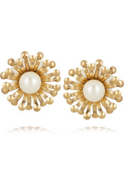 Tory Burch Gold-tone faux pearl earrings