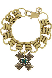 Tory Burch Abella gold-tone crystal cross bracelet