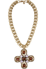 Tory Burch Posey gold-tone crystal necklace