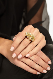 Jacqueline Cullen 18-karat gold-plated, jet and diamond ring