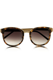 Linda Farrow Square-frame acetate and gold-plated sunglasses