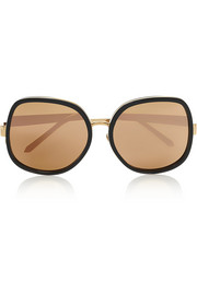 Square-frame acetate and gold-tone sunglasses