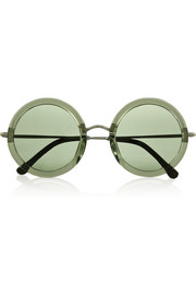The Row Leather-trimmed round-frame acetate and metal sunglasses