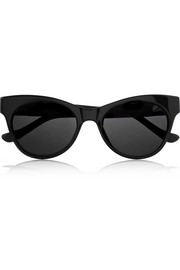 Cat eye leather-trimmed acetate sunglasses