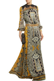 Etro Embellished paisley-print silk-jacquard gown