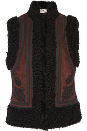 Etro Embroidered suede and shearling vest