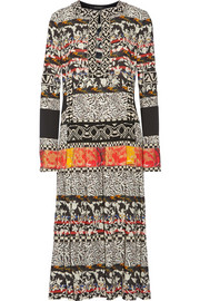 Etro Embellished printed crepe and silk dress
