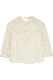 Temperley London Crivelli embellished embroidered tulle top