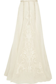 Crivelli embellished embroidered silk-organza maxi skirt