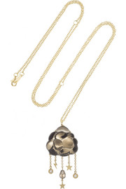 Bibi van der Velden Cloud 18-karat gold, smokey quartz and diamond necklace
