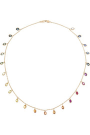 Bibi van der Velden Rainbow 18-karat rose gold sapphire necklace